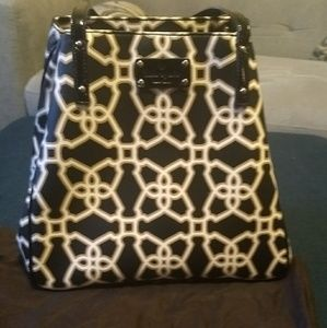 Brown& Cream Kate Spade trellis pattern tote